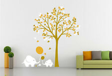 Large elephant tree Wall Vinyl Decal Stickers Removable Nursery Kids Baby UK