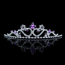 Kids Purple Flower Girl Children Wedding Prom Tiara Crown Headband - Kid Size
