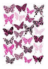 24 Glaseado Cupcake Cake Toppers Decoraciones Comestibles Animal Print Mariposas imágenes