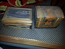Vintage Pair of  Wooden  Trinket  Jewelry Boxes