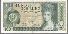 AUSTRIA BANKNOTE 100 P145 1969 VF ink number