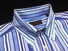 ETRO Mens E42~16.5 36 Blue White Striped Textured Long Sleeve Button-Down Shirt
