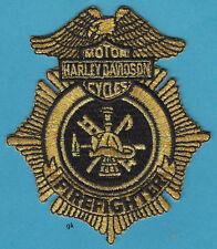 HARLEY DAVIDSON FIRE FIREFIGHTER PATCH  Gold / Black
