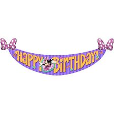 Disney Minnie Mouse Happy Birthday Banner Child's Party - Decorations, Supplies
