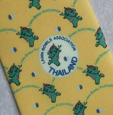 LAWN BOWLS ASSOCIATION THAILAND TIE CLUB NECKTIE BOWLING YELLOW 1990s 2000s