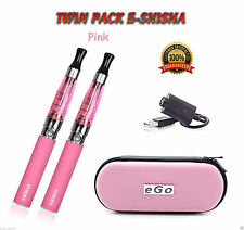 PINK Rechargeable Electric Shisha Cigarette 2 Pen Set & 2 Free Mix Fruit Flavor