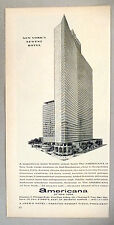 Americana Hotel of New York PRINT AD - 1962 ~~ world's tallest hotel