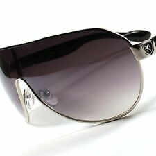 Sleek Hot Khan Designer Aviator Shield Swag Mens Women's Black Sunglasses A41A