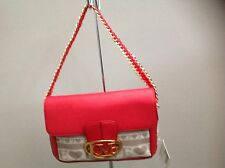 LOVE MOSCHINO FAUX RED LEATHER AND CANVAS SHOULDER BAG BNWT RRP £165.00 REDUCED