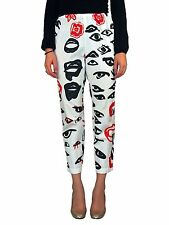 COMME DES GARCONS F/W 2000 Eye Print Pants SIZE SMALL White Red Lips Elastic