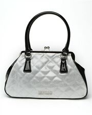 Lux de Ville Bon Voyage Kiss Lock Hand Bag Black and Silver Sparkle