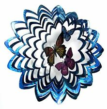 """Shipityourway 6.5"""" 3D Wind Spinner Butterfly Trio Multicolored Blue Patio Decor"""