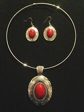 Choker Necklace Earrings Big Chunky Boho Hippie Festival Silver Red Gypsy