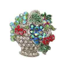 Bowl of Fruit Brooch / Silver Crystal Bowl of Fruit Brooch / Diamante   #463