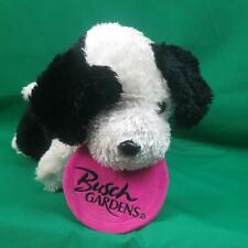 BIG BLACK WHITE FRISBEE CATCH BUSCH GARDENS PUPPY DOG PLUSH BORDER COLLIE TOY