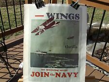 """PRINT OF WWII NAVY RECRUITMENT POSTER NAMED 'WINGS"""" AND SAYING """"JOIN the NAVY"""""""
