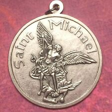 Archangel St Michael Medal - Pendant - Silver tone - 2 1/2 Inch - Italy