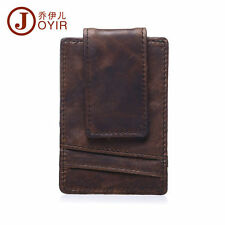 Men Crazy Horse Leather Magnet Front Pocket Cash Wallet Card Money Clip Vintage