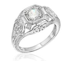Art Deco Inspired 925 Sterling Silver 3/4ct CZ Engagement Milgrain Ring Size 6