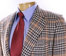 BOLD Paul Stuart Peach Brown Ivory Houndstooth Sportcoat Blazer Jacket 37R Wool