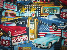 RT 66 DINER CARS LICENSE PLATES MOTEL SIGNS BLACK COTTON FABRIC FQ