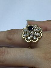 Mid Century 2.08CT Diamond & Blue Sapphire Cocktail Cluster Ring,14KYellow Gold