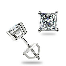 .40 Ct Princess Cut Solitaire Stud Earrings Basket Screwback Real 14k White Gold