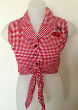 Rockabilly Pinup Sexy Sleeveless Tie Up Top Cherry detail Red & White  SIZE S