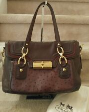 Coach Kristin Plum Leather Ostrich Embossed Flap Satchel/Shoulder Bag, NWT