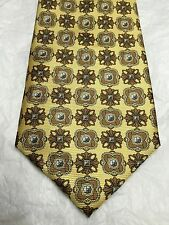 BIJOUX TERNER MEN'S TIE YELLOW WITH BROWN FLORAL DESIGN