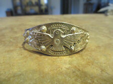 OLD 1900's Fred Harvey Era NAVAJO Sterling Silver APPLIED THUNDER BIRD Bracelet