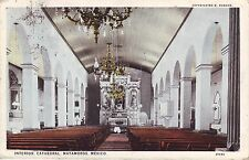 Mexico Matamoros Cathedral Interior 1928 cover to Milwakee WI USA Ads postcard