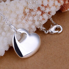 -UK- 925 Silver Double Hollow Love Heart With Heart Hole Pendant Necklace (087)