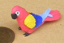 1:12 Scale Large Red Polymer Clay Parrot Doll House Miniature Bird Accessory P14