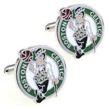 BOSTON CELTICS CUFFLINKS Sport Team Logo Basketball NEW w GIFT BAG Groom Wedding