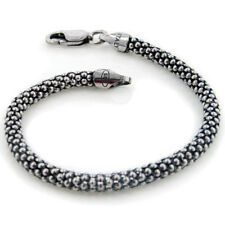 4.5mm Sterling Silver Antiqued Oxidized Snake Skin Chain Bracelet 7""
