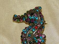 Rhinestone Seahorse Brooch,  Large Colorful Pin - New - Ships FREE in USA