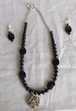 Womens Black Bead Animal Print Pendant Necklace with Dangle Earrings Set Jewelry