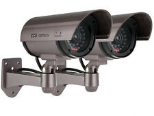 2 x Realistic Fake Dummy CCTV Security Camera Flashing LED Indoor Outdoor Silver