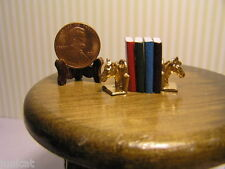 Miniature Dollhouse Bookends w/ books / Horse Heads
