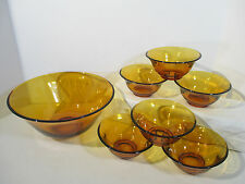 Amber Glass Bowls Set of 7 Salad Dessert Vintage 1970s Flaired Edge Autumn Party