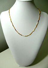 Yellow Gold Plated Chain Necklace Women Girls Twisted 9k No Stone 18in TW-1