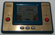 **VINTAGE LCD MINI ARCADE SUBMARINE HANDHELD GAME & CLOCK/WATCH**