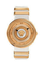 Versace Women's VLC040014 V-METAL ICON Gold IP Steel White Leather Wristwatch