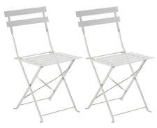 Lot de 2 Chaises Pliantes Elsa blanche en acier - Dim: 42 x 47 x 81 cm
