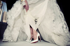 Christian Louboutin Bridal Patent Dalida Wavy Heel 100mm White Pumps Sz 39