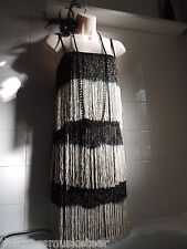 BNWT sz16 Vintage 1920's Gold Tassel Fringe Tier Flapper Charleston Gatsby DRESS