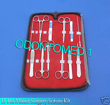 15 PCS MINOR SURGERY DISSECTION SUTURE LACERATION KIT SURGICAL INSTRUMENTS