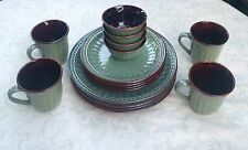 Gibson Elite 16 Pc. Dinnerware Set Green Brown Beaded Plates Dinner Salad Mugs