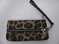 DANIER LEATHER LEOPARD CAT PRINT WRISTLET HAND WALLET EVENING PARTY POUCH PURSE